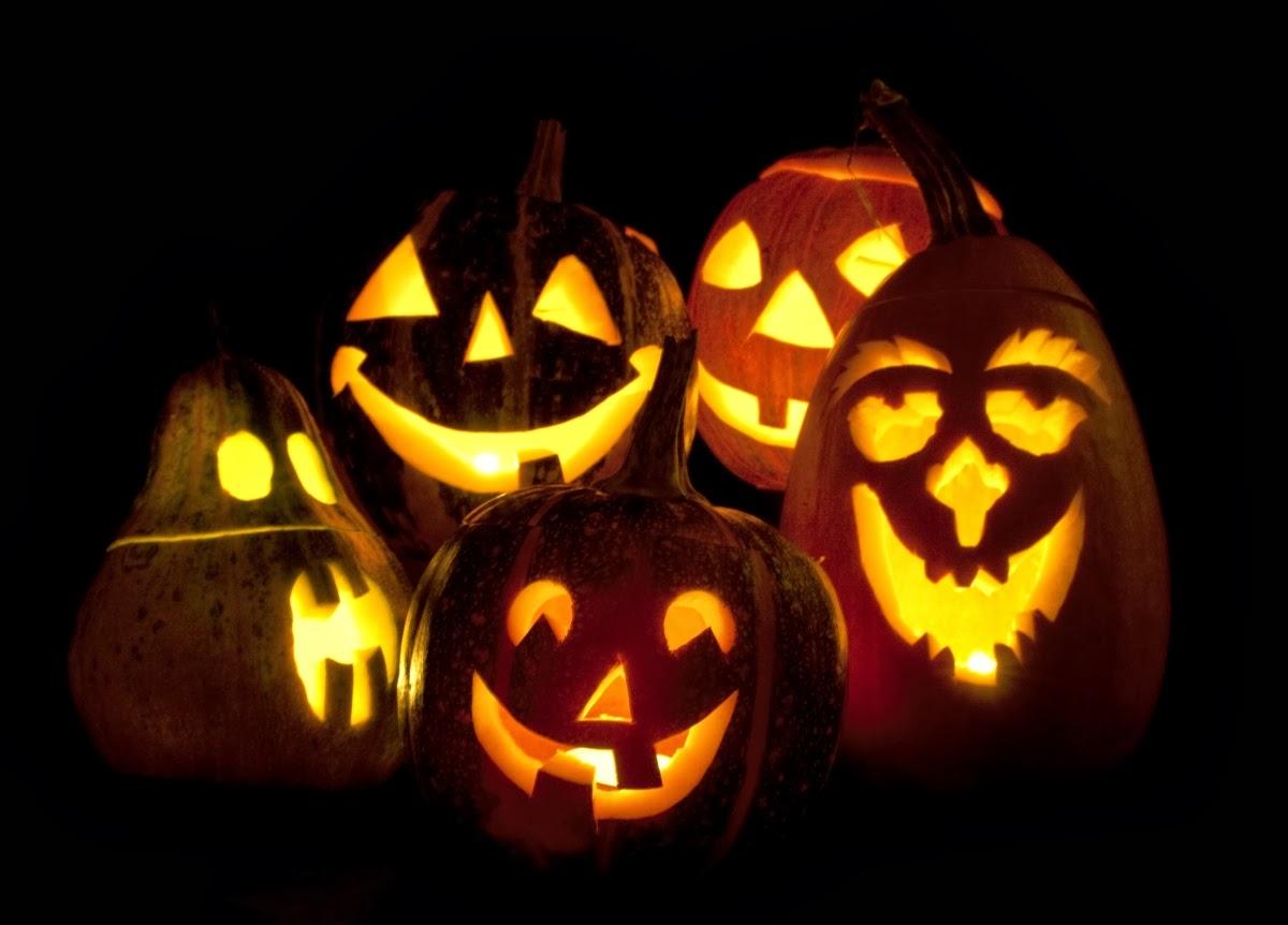 Candele zucche  foto stock  Vacanze Halloween